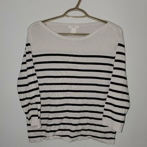 White and Blue Striped Long Sleeve
